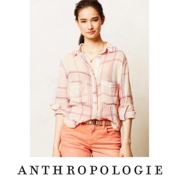 Anthropologie Tops - EUC Anthro Holding Horses Plaid Sheer Top